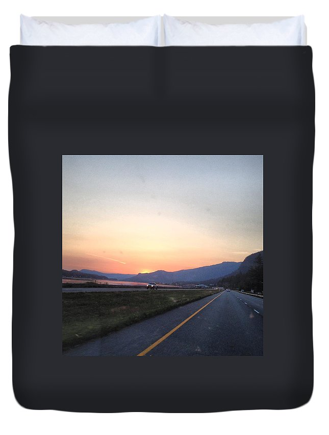 Sunset Duvet Cover featuring the photograph Highway Sunset by Erik Roeser