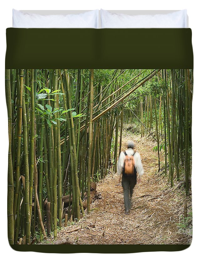 Adventure Duvet Cover featuring the photograph Hiker In Bamboo Forest by Greg Vaughn - Printscapes