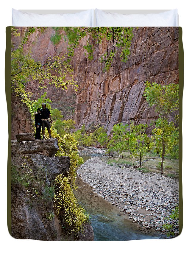 Zion National Park Duvet Cover featuring the photograph Hikers Zion National Park by Daryl L Hunter