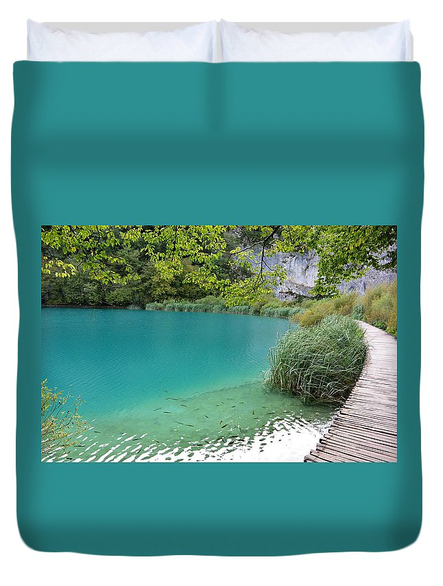Kaluderovac Lake Duvet Cover featuring the photograph Hiking Kaluderovac Lake by Two Small Potatoes