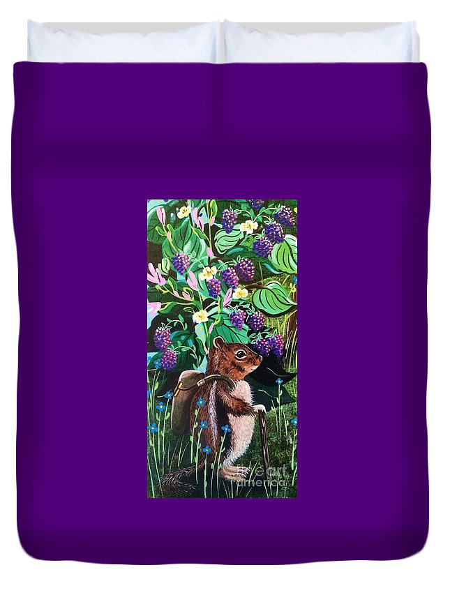 Backpacking Duvet Cover featuring the painting Hiking The Berry Patch by Jennifer Lake