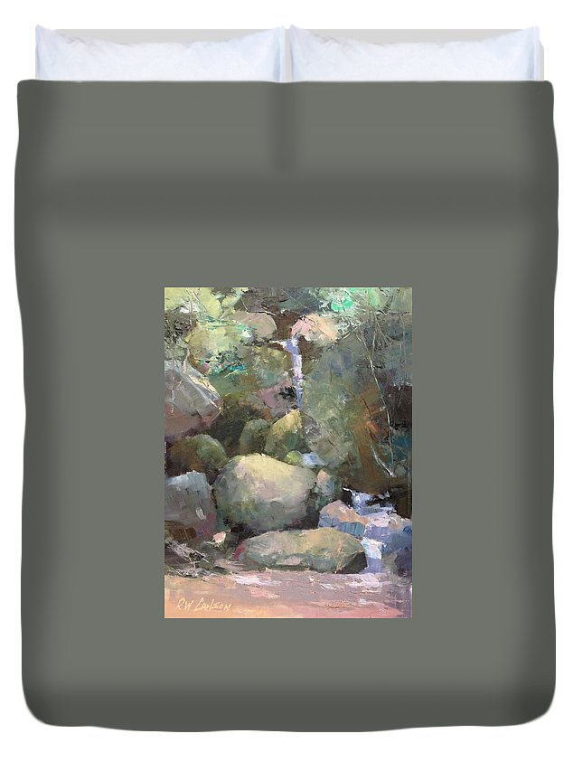 Landscape Duvet Cover featuring the painting Hill Side Spring by R W Carlson