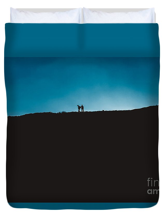 Duvet Cover featuring the photograph Hill Walkers by Marc Daly