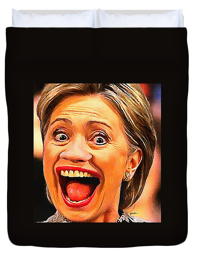 Hillary Duvet Cover featuring the digital art Hillary Clinton by Anthony Caruso