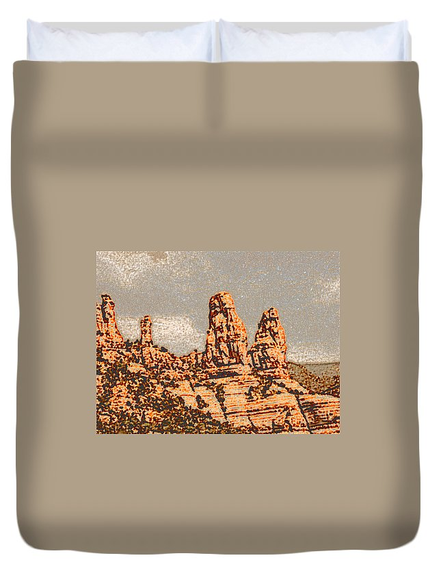 Altered Photography Duvet Cover featuring the photograph Hills In Sedona by Wayne Potrafka