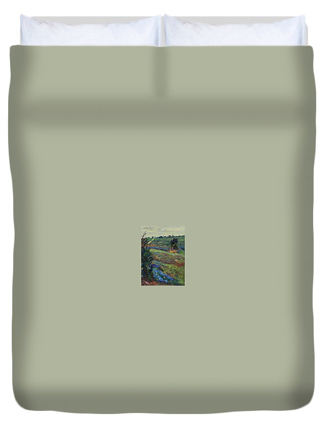 Blue Bonnets Duvet Cover featuring the painting Hills Of Joy by Maris Salmins