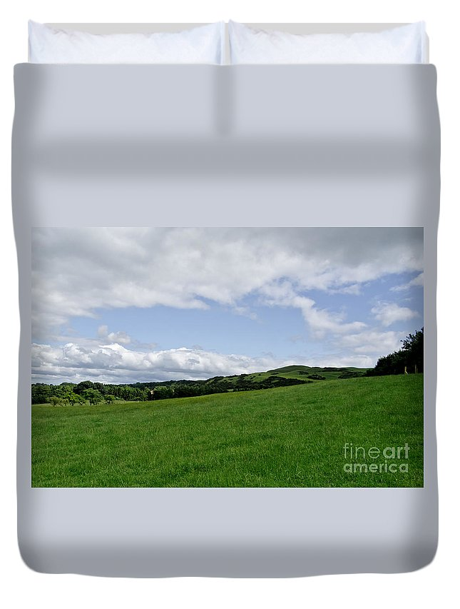 Beecraigs Duvet Cover featuring the photograph Hills Touching The Sky. by Elena Perelman