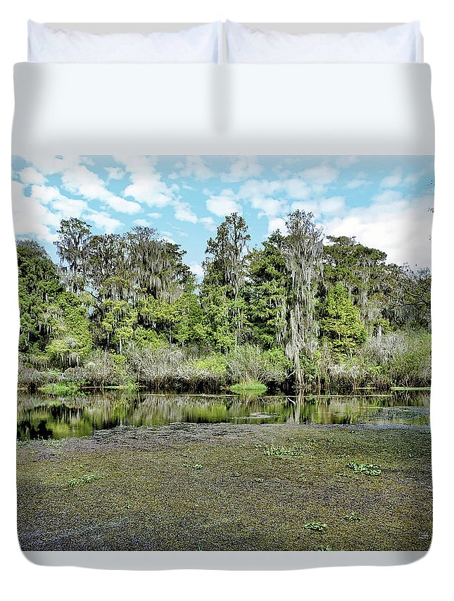 River Duvet Cover featuring the photograph Hillsborough River 1 by John Trommer