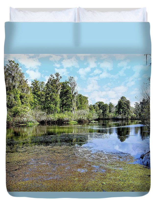 River Duvet Cover featuring the photograph Hillsborough River 3 by John Trommer