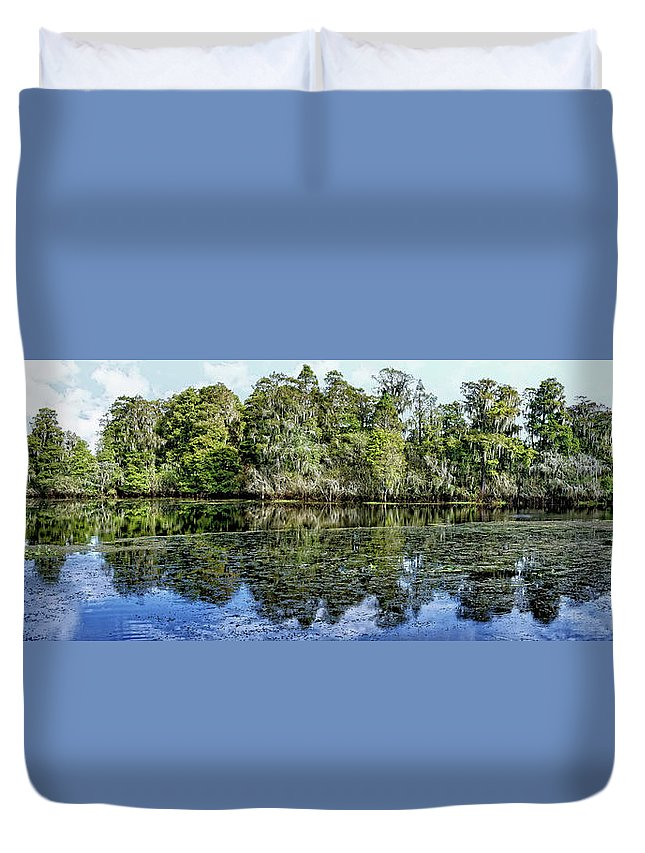 Panorama Duvet Cover featuring the photograph Hillsborough River Panorama 1 by John Trommer