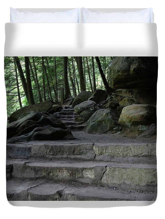 Trail Duvet Cover featuring the photograph Hillside Trail by Jeff Roney