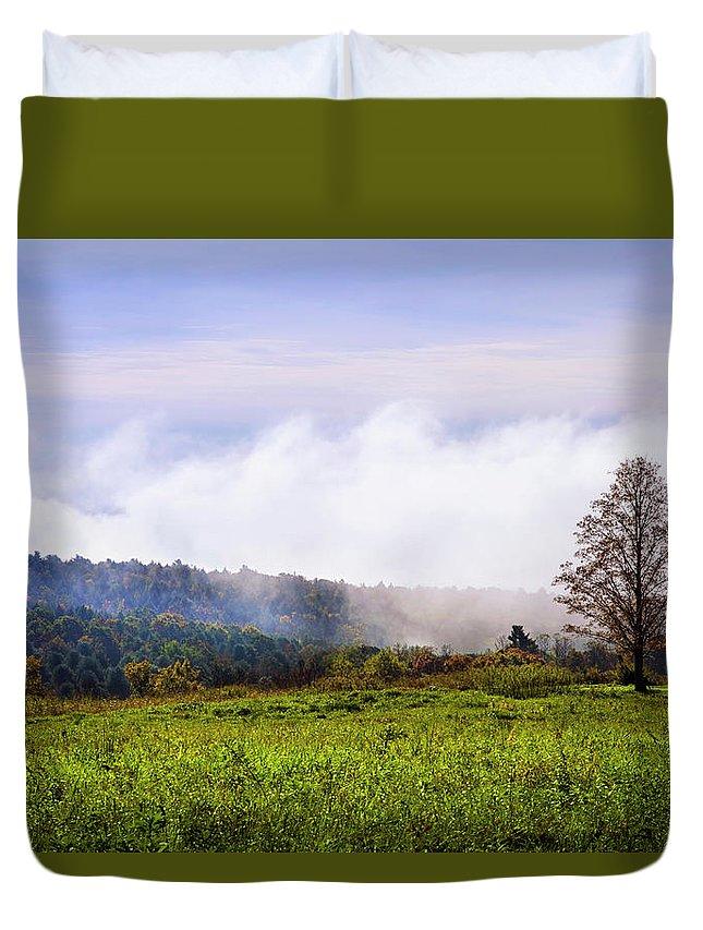 Hilltop Duvet Cover featuring the photograph Hilltop Fog Sunrise Landscape by Christina Rollo