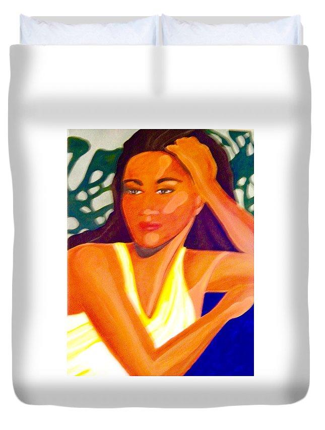 Woman Duvet Cover featuring the painting Hinanopolani by Jamie Laniakea Clark