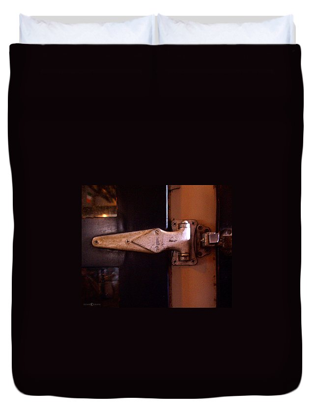 Hinge Duvet Cover featuring the photograph Hinge by Tim Nyberg