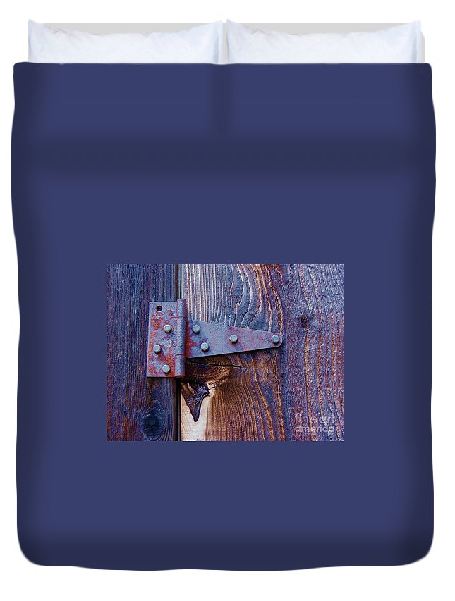 Hinge Duvet Cover featuring the photograph Hinged by Debbi Granruth