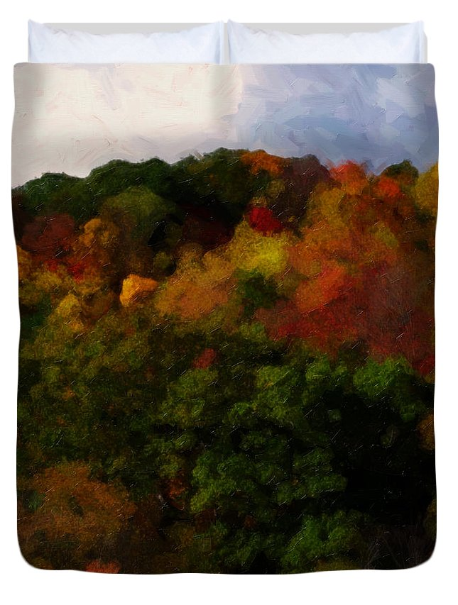 Fall Duvet Cover featuring the painting Hint Of Fall Color Painting by Teresa Mucha
