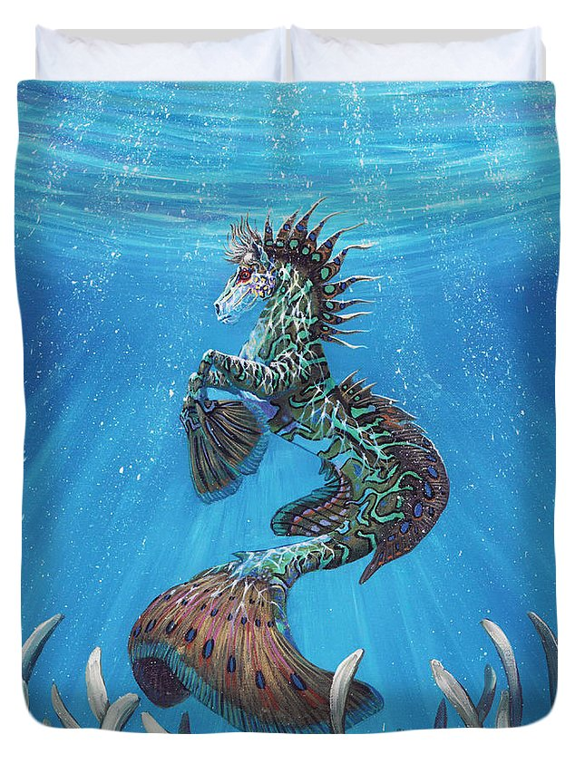Seahorse Duvet Cover featuring the painting Hippocampus by Stanley Morrison