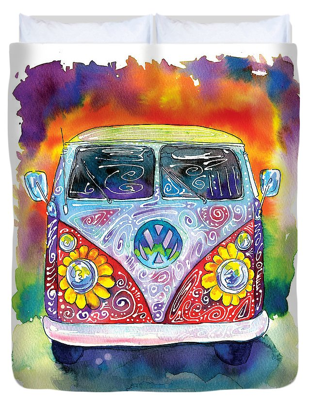 Vw Duvet Cover featuring the painting Hippy Bus by Bill Stork