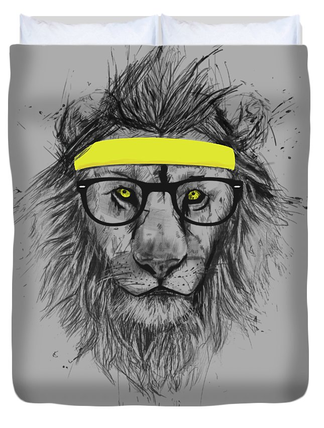 Lion Duvet Cover featuring the drawing Hipster lion by Balazs Solti