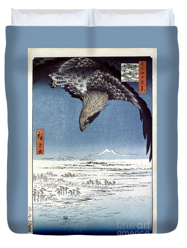 100 Famous Views Of Edo Duvet Cover featuring the photograph Hiroshige: Edo/eagle, 1857 by Granger