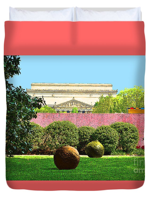Smithsonian Duvet Cover featuring the photograph Hirshhorn Colour by Jost Houk
