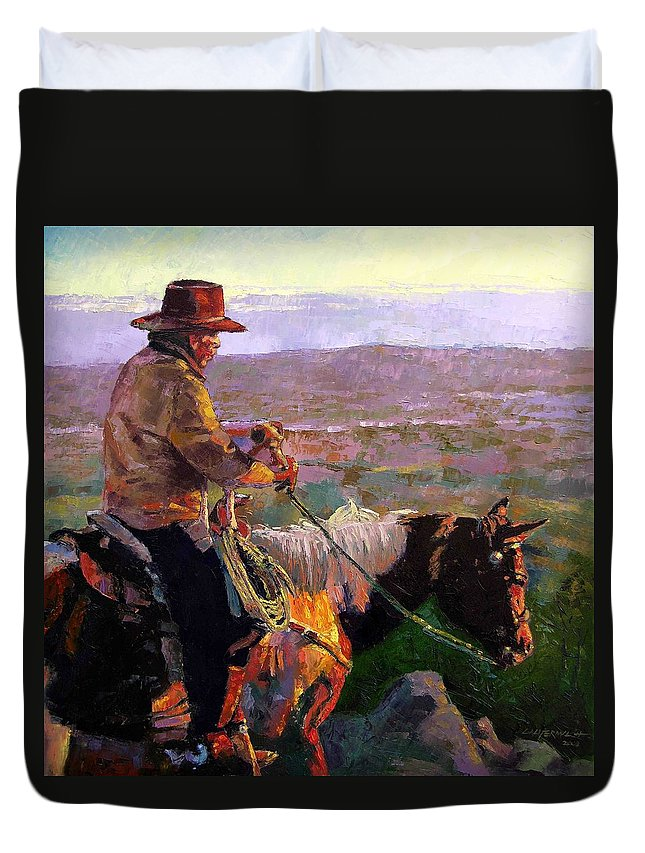 Coyboy Duvet Cover featuring the painting His Two Best Friends by John Lautermilch