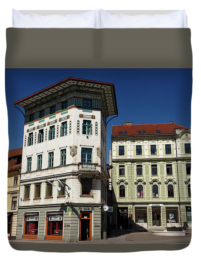 Historic Duvet Cover featuring the photograph Historic Art Nouveau Buildings At Preseren Square White Tiled Ha by Reimar Gaertner