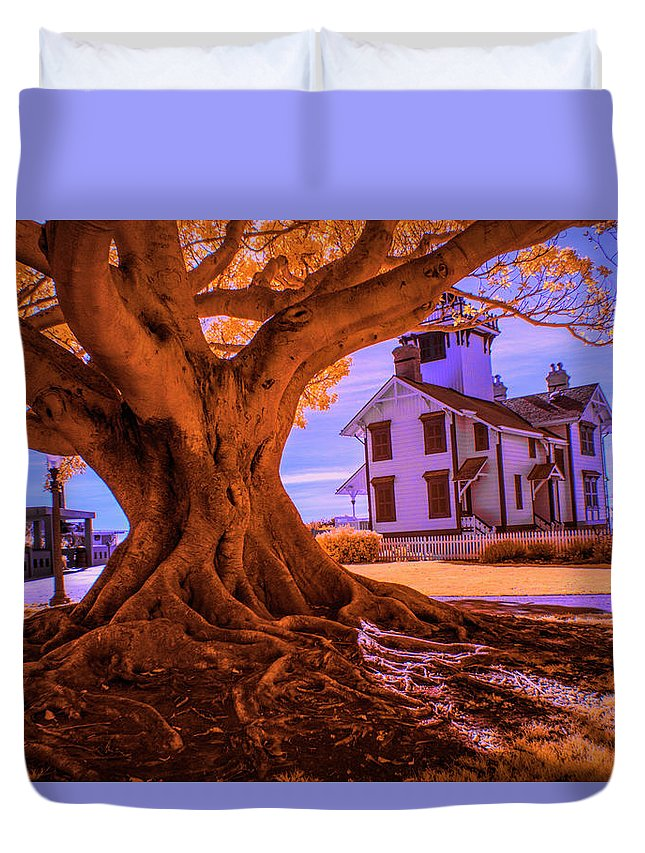 Art Duvet Cover featuring the photograph Historic Fermin Point Lighthouse In Infrared by Randall Nyhof