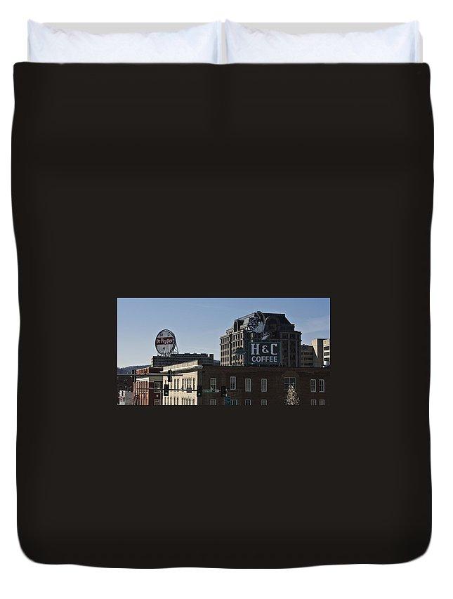 Roanoke Duvet Cover featuring the photograph Historic Landmark Signs Roanoke Virginia by Teresa Mucha