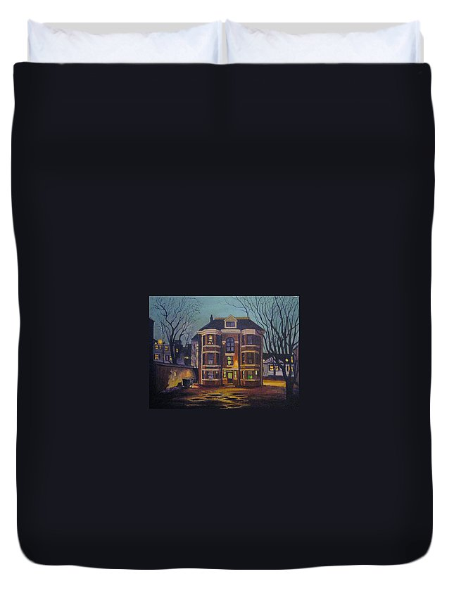 Moody Duvet Cover featuring the painting Historic Property South End Haifax by John Malone