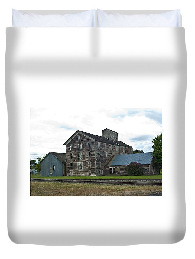 Historical Duvet Cover featuring the photograph Historical Barron Wheat Flour Mill In Oakesdale Wa by Louise Magno