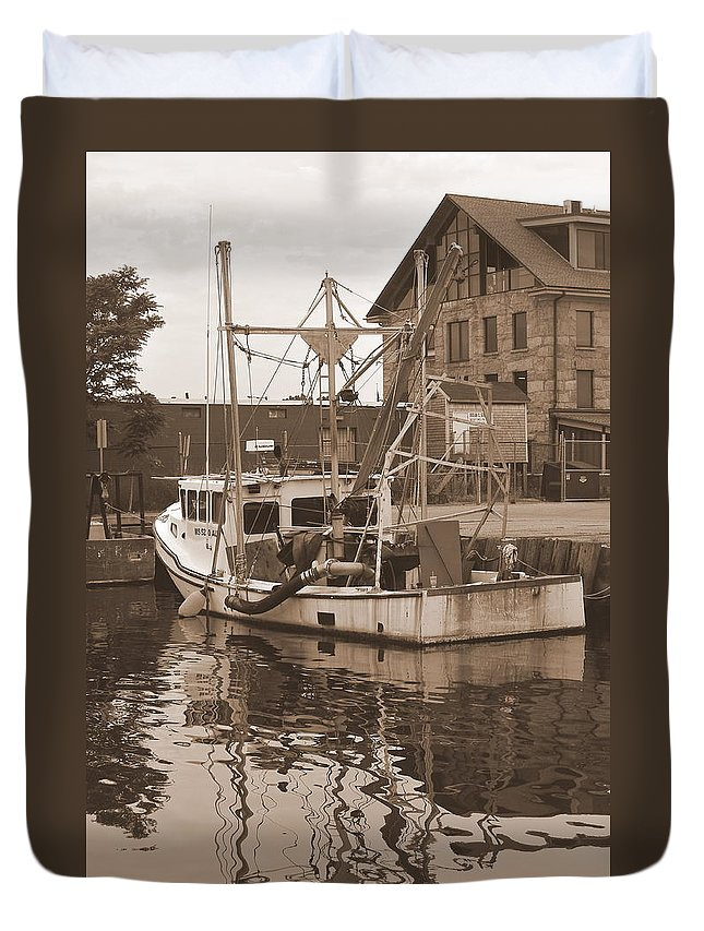 New Bedford Duvet Cover featuring the photograph Historical Waterfront by Catherine Reusch Daley