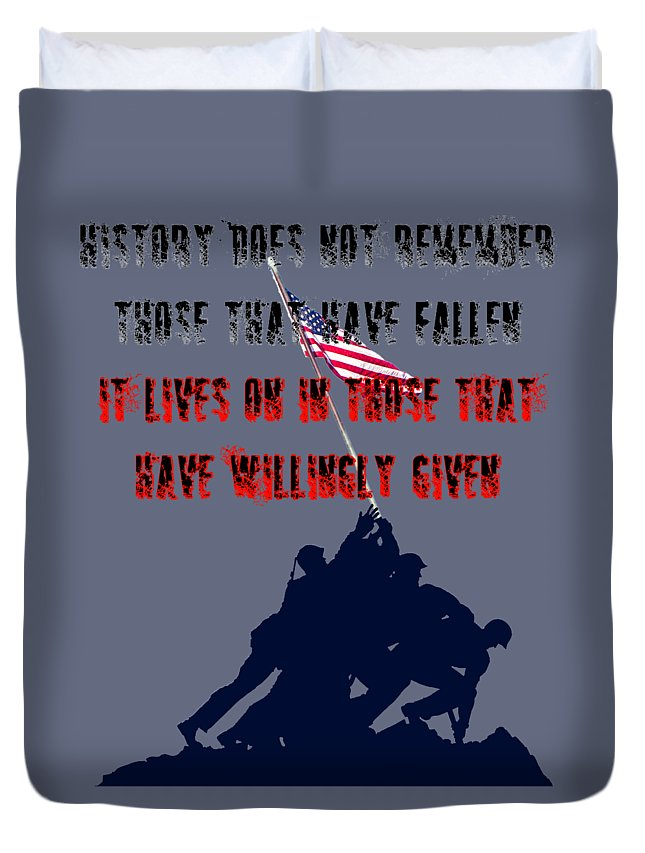 Memorial Day Duvet Cover featuring the digital art History Lives In The Given by Tyler Cranston