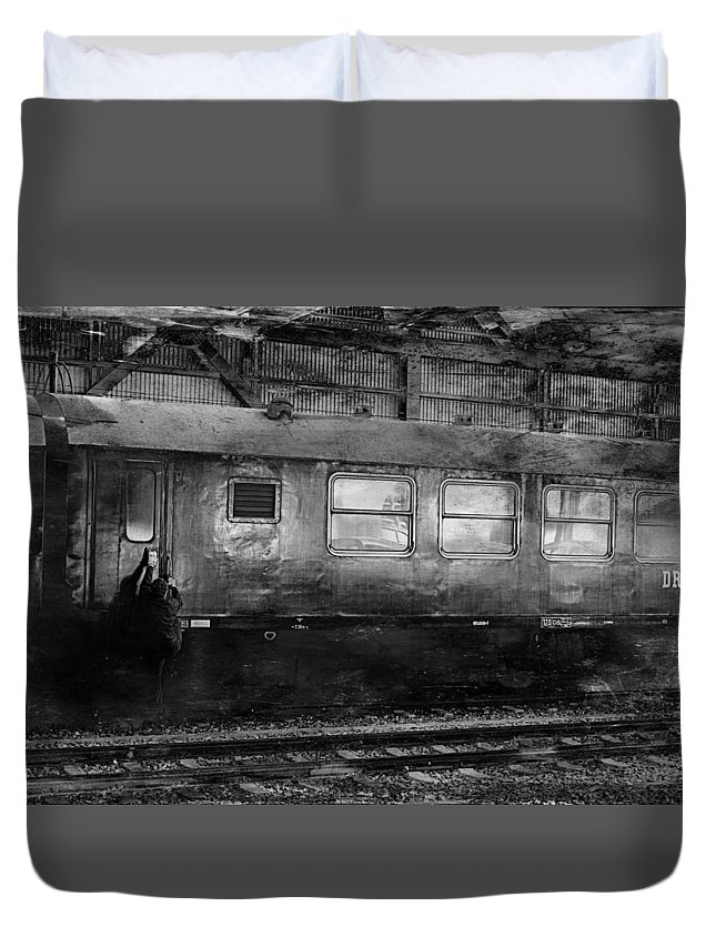 Rail Duvet Cover featuring the photograph History Train by Heike Hultsch
