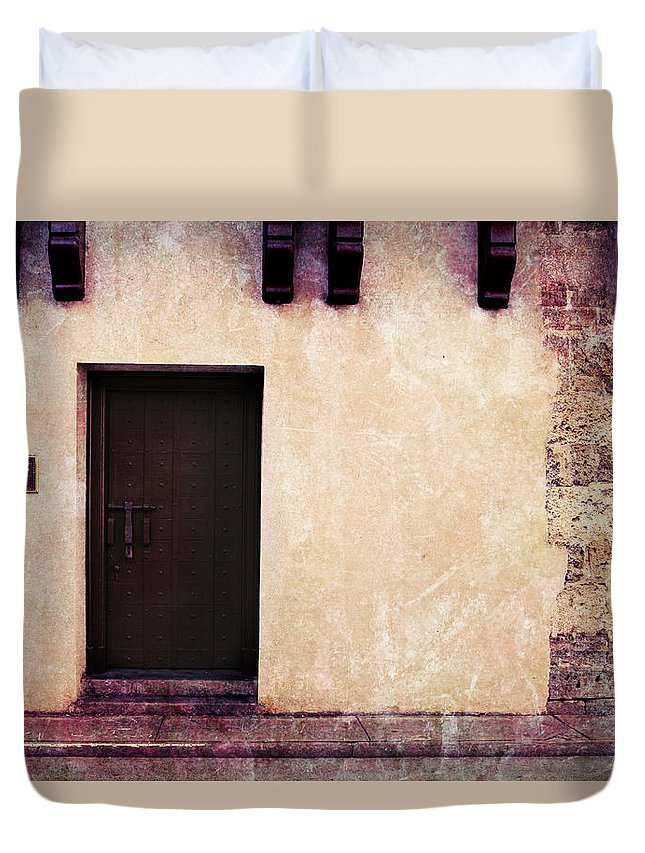 Door Duvet Cover featuring the photograph History's Doorway 2 by Romina Ludovico-Pfosi