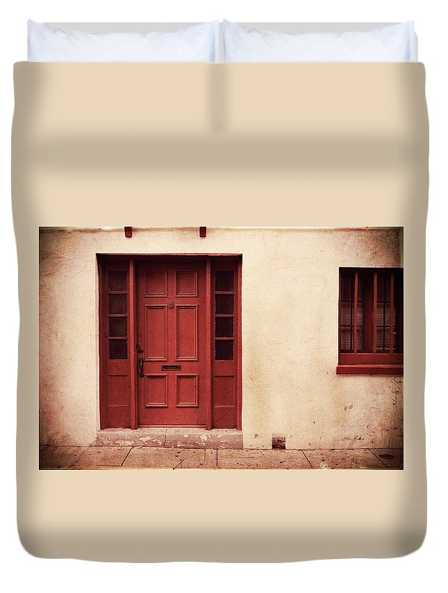 Door Duvet Cover featuring the photograph History's Doorway by Romina Ludovico-Pfosi