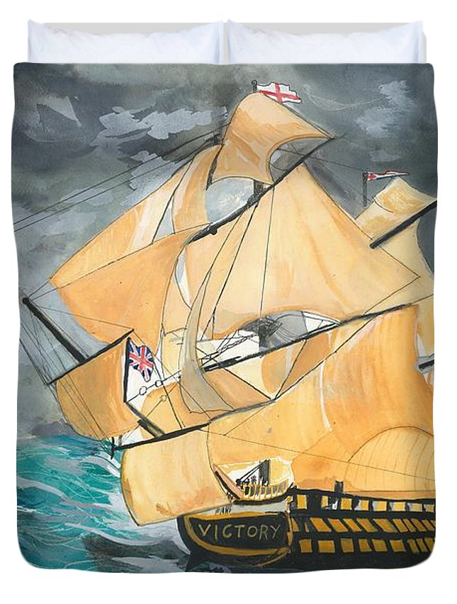 War Ship Duvet Cover featuring the painting Hms Victory by Catherine Wight