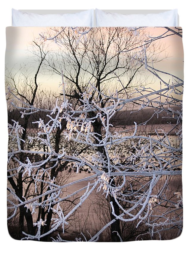 Hoar Frost Trees Lake Water Autumn Winter Ice White Cold Duvet Cover featuring the photograph Hoar Frost by Andrea Lawrence