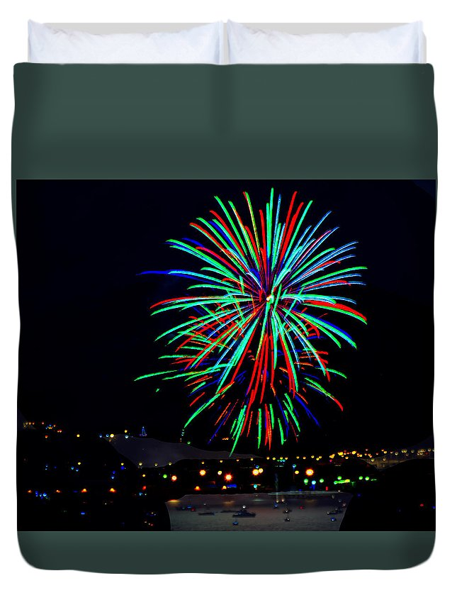 Hobart Duvet Cover featuring the photograph Hobart New Years Eve Fireworks by Tony Crehan
