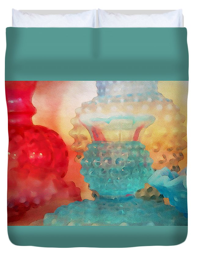 Watercolor Duvet Cover featuring the painting Hobnail Glassware by Bonnie Bruno