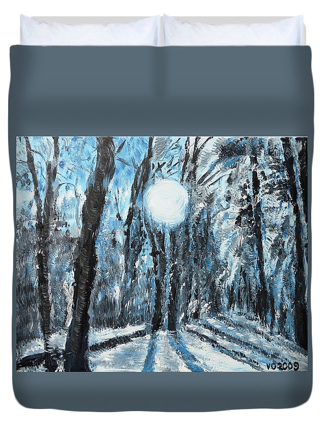 Landscape Duvet Cover featuring the painting Hochleite In January by Valerie Ornstein