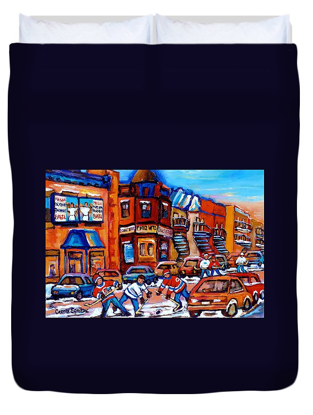 Fairmount Bagel Duvet Cover featuring the painting Hockey At Fairmount Bagel by Carole Spandau