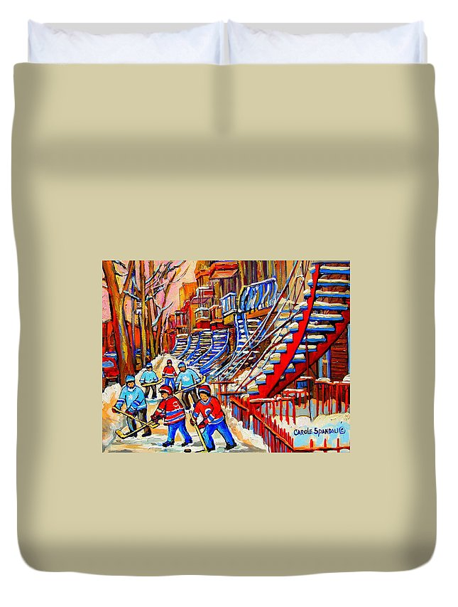 Montreal City Duvet Cover featuring the painting Hockey Game Near The Red Staircase by Carole Spandau