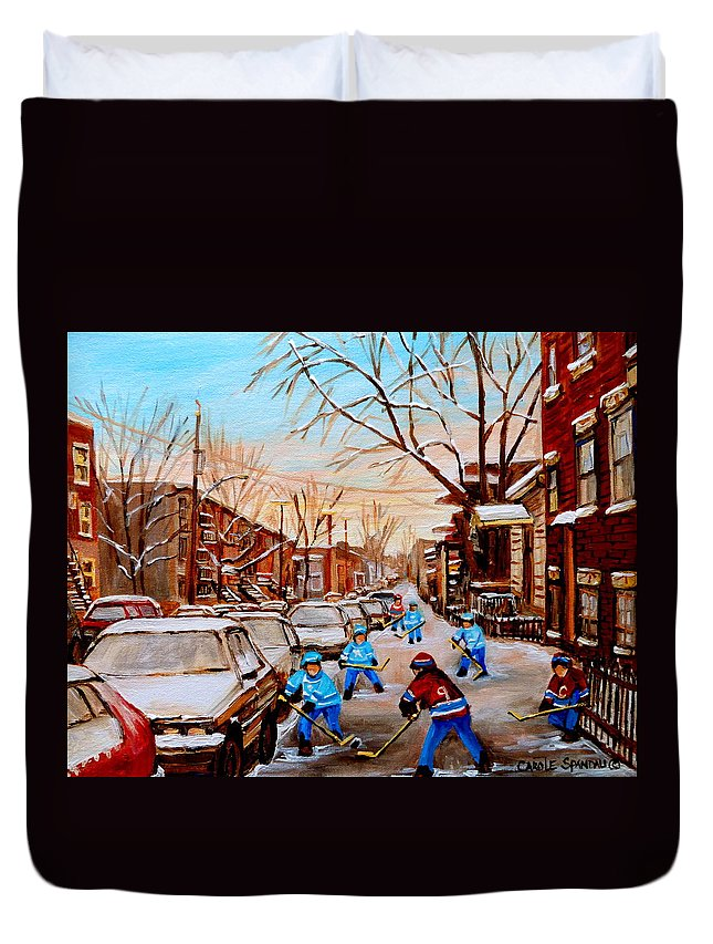 Montreal Duvet Cover featuring the painting Hockey Gameon Jeanne Mance Street Montreal by Carole Spandau