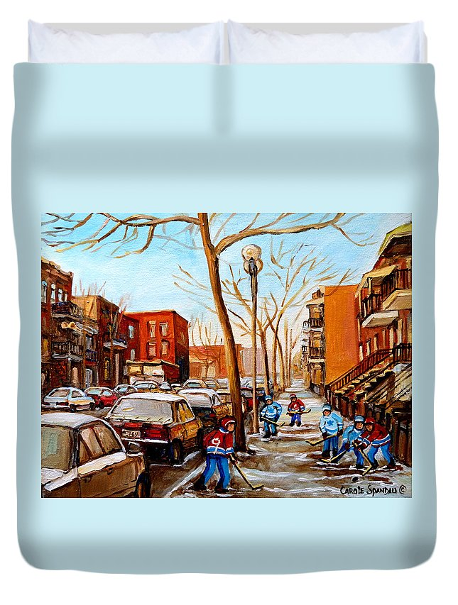 Hockey Duvet Cover featuring the painting Hockey On St Urbain Street by Carole Spandau