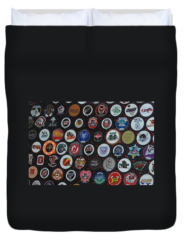Pop Art Duvet Cover featuring the photograph Hockey Pucks by Rob Hans
