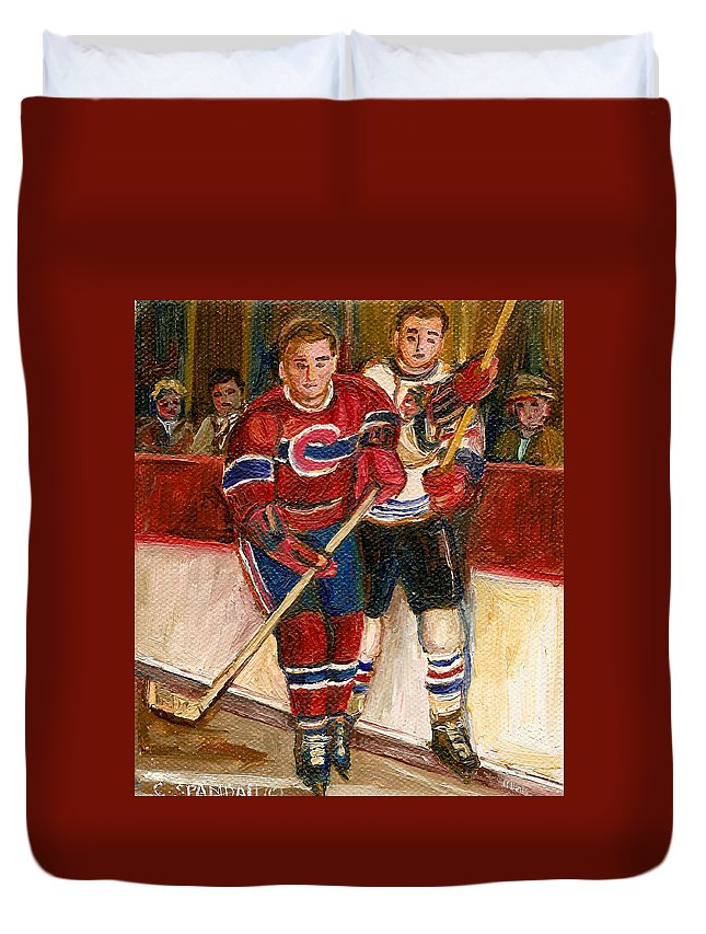 Hockey Duvet Cover featuring the painting Hockey Stars At The Forum by Carole Spandau