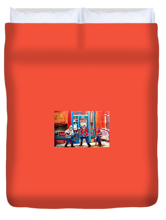 Wilenskys Duvet Cover featuring the painting Hockey Sticks In Action by Carole Spandau