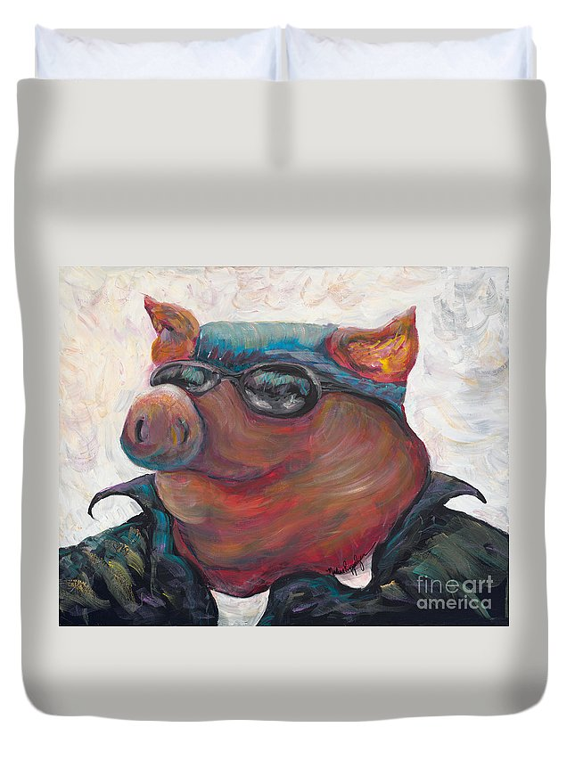 Hog Duvet Cover featuring the painting Hogley Davidson by Nadine Rippelmeyer