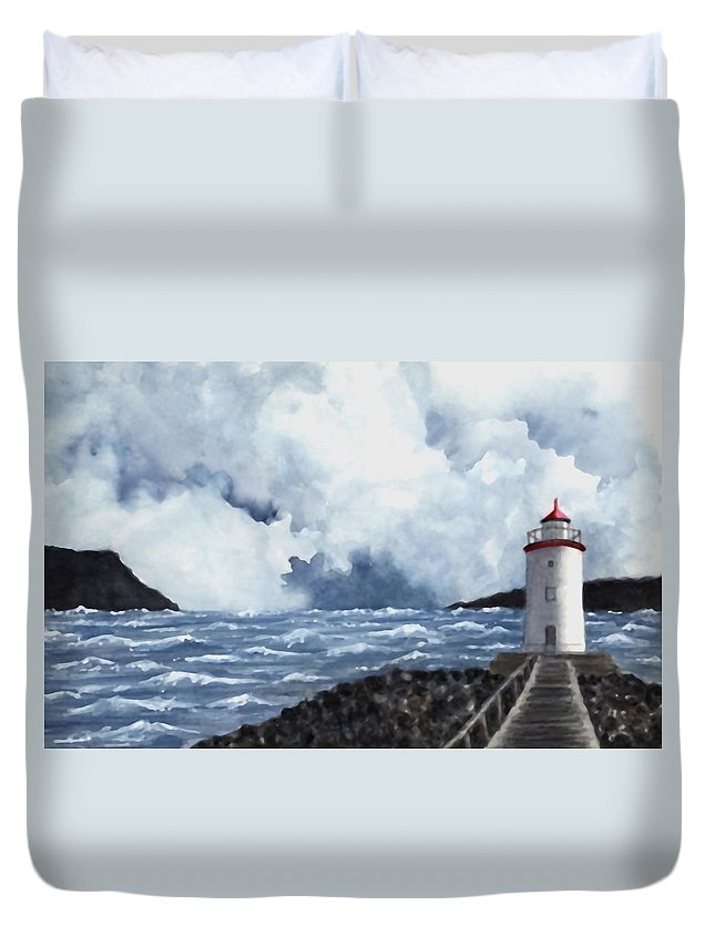 Lighthouse Duvet Cover featuring the painting Hogsteinen Lighthouse by Michael Vigliotti